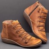 大尺碼女鞋35-43☆ 2019新款百搭優雅舒適柔軟仿真皮低跟跟短靴 尖頭側拉鍊瘦瘦靴 ~5色