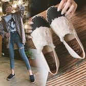 娃娃鞋 草編漁夫鞋女平底淺口單鞋2021春季新款社會韓版百搭一腳蹬懶人鞋