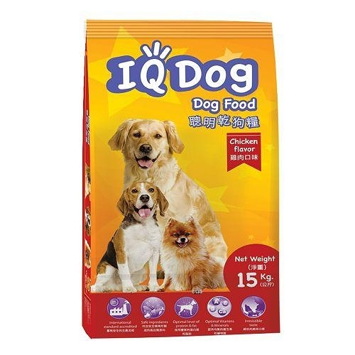IQ Dog 聰明乾狗糧-雞肉口味成犬配方15KG【愛買】