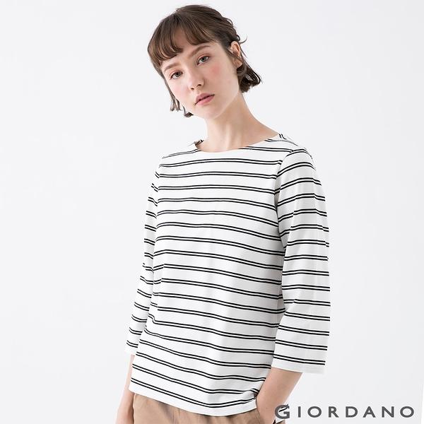 【GIORDANO】女裝簡約厚磅七分袖T恤 - 81 皎白/標誌黑