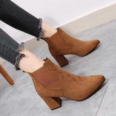 短靴女秋冬粗跟靴子潮復古絨面尖頭高跟馬丁靴英倫風裸靴 One shoes