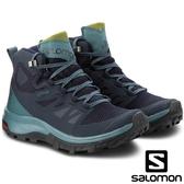 【SALOMON 法國】女 OUTline Mid GTX 中筒登山鞋『海軍藍/青/鱷梨綠』404846 多功能鞋.健行鞋.登山鞋