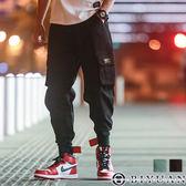 【OBIYUAN】工作褲 有加大尺碼 縮口褲  翻蓋口袋 魔鬼氈 休閒長褲  共2色【F2802】