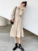 長袖洋裝秋冬學生中長款過膝裙子女裝韓版氣質高腰法式長袖連身裙新款