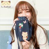 水壺袋~Le Baobab日系貓咪包 小清新花朵斑紋啵啵貓水壺袋/保溫袋/萬用包/拼布包包