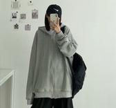 棉質外套衛衣開衫韓版寬鬆大碼純色連帽長袖外套女開衫NC417.604胖胖唯依二店