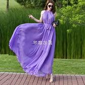 超長及踝長裙2021新款波西米亞純色雪紡大碼連衣裙度假沙灘裙超仙 快速出貨