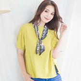 韓國小領巾兩件套百搭純色T-shirt