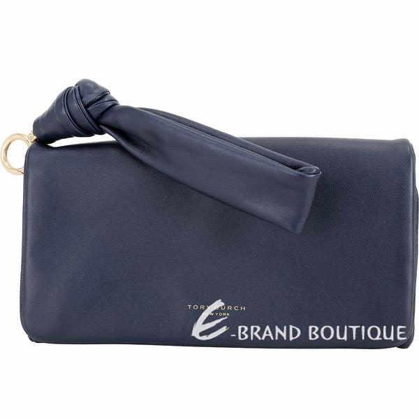 TORY BURCH Beau 附可拆扭結帶柔軟皮革三折式皮夾/手拿包(深藍色) 1910052-34