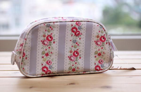 *禎的家* 英國 Cath Kidston 全新弧形手拿包(中)  條紋玫瑰花