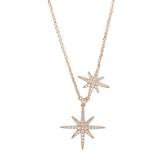 apm MONACO法國精品珠寶 閃耀玫瑰金雙繁星可調整長項鍊 RC3351OX