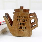 【00374】 咖啡壺造型木質膠台 桌上型膠帶台