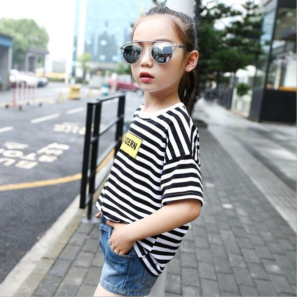 衣童趣 ♥中大女童 韓版 圓領條紋 短袖上衣 個性潮流款 百搭休閒T恤