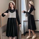 初心 兩件式洋裝【DS3621】韓系 鏤空 背心 馬甲 背心 針織 長袖 洋裝