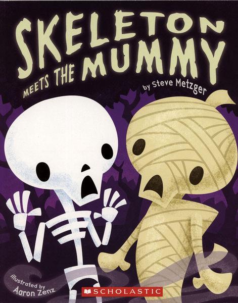 【麥克書店】SKELETON MEETS THE MUMMY/ 平裝繪本《主題: 萬聖節》
