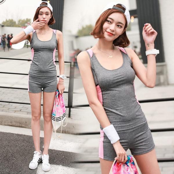 韓國春夏新款瑜伽服套裝套女短袖背心休閒運動跑步健身喻咖服   -cmx0043