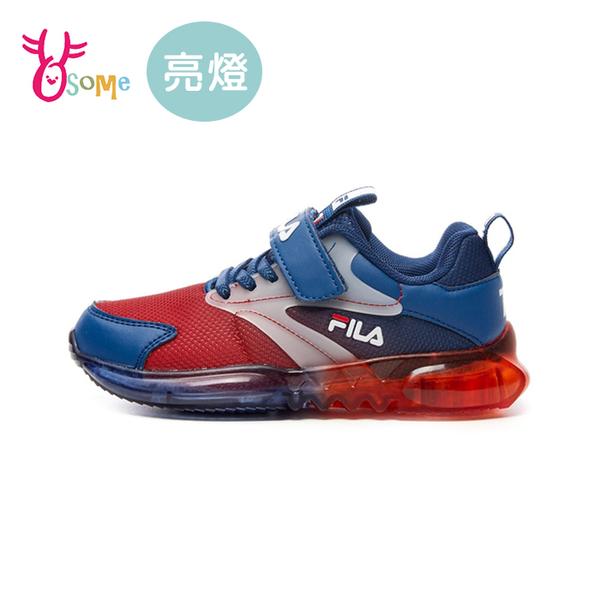 FILA童鞋 男童電燈鞋 閃燈鞋 LED燈鞋 運動鞋 慢跑鞋 運動鞋 跑步鞋 魔鬼氈 康特杯 R7670#白藍