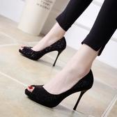 2020春秋新款細跟高跟鞋8cm性感時尚單鞋女黑色OL百搭水鉆魚嘴鞋