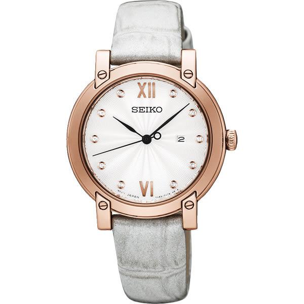SEIKO 精工 甜蜜晶鑽時尚女錶-銀x玫塊金框/31mm 7N82-0JM0P(SXDG82P1)