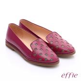 effie 俏麗悠活 全真皮馬賽克拼貼風樂福鞋 桃粉紅