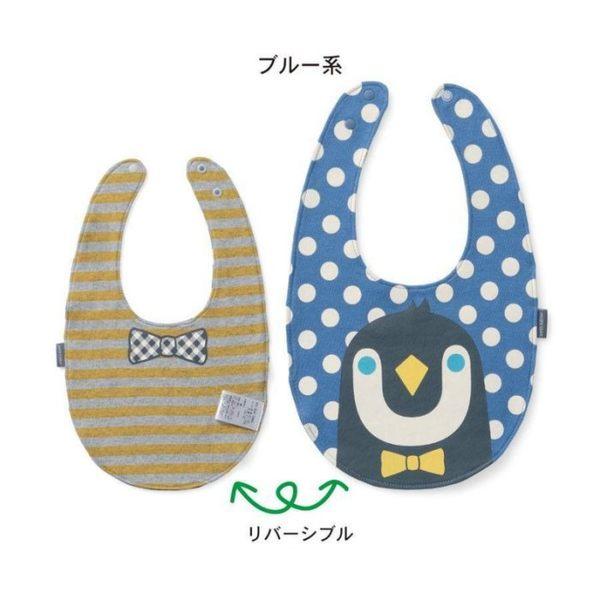 【發現。好貨】日單千趣會純棉雙層寶寶口水巾企鵝小貓小熊條文 兒童圍兜兜 圍嘴
