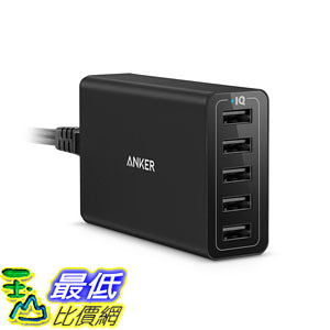 [106美國直購] 快充 Anker 40W/8A 5-Port USB Charger PowerPort 5, Multi-Port USB Charger for iPhone