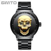 手錶 外貿骷髏頭休閒男士品牌手錶鋼帶石英創意手錶潮男錶 卡菲婭
