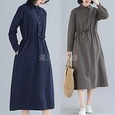 2020秋冬新款韓版女裝大碼寬鬆洋裝中長款顯瘦長袖棉麻襯衣裙子 滿天星