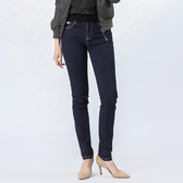 Victoria 中高腰深藍鑲鑽小直筒褲-深藍-VW2310