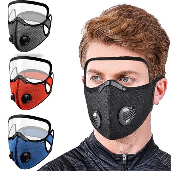 防護面罩 騎行口罩夏季透氣帶護目屏呼吸閥過濾片可水洗防工業粉塵防塵口罩