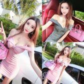 夜店女裝新款夜場吊帶裙性感低胸V領顯胸緊身包臀酒吧洋裝〖滿千折百〗