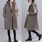 大尺碼外套 毛呢外套大碼女裝200斤百搭秋冬季格子保暖大衣