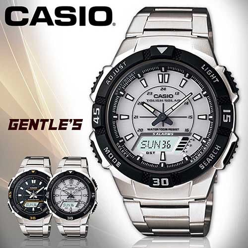 CASIO 卡西歐手錶專賣店 AQ-S800WD-7E 男錶 雙顯錶 不鏽鋼錶帶 白 太陽能電力 鬧鈴 倒數 計時 碼表