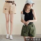 【天母嚴選】韓系工裝附腰帶口袋短褲(共二色)