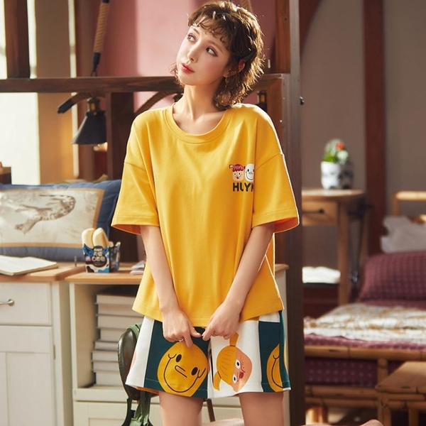 2020新款網紅睡衣女夏天純棉ins短袖女士夏季薄款兩件套裝家居服 ATF艾瑞斯「快速出貨」