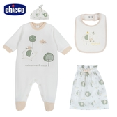 chicco- 粉彩-三件式兔裝組(帽+圍兜、附收納袋)