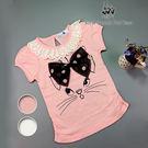蕾絲領貓咪圖案棉質T恤*2色 RQ PO...