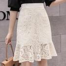 女生短裙 高腰蕾絲魚尾裙女裝夏裝2021年新款中長款包臀黑色a字半身裙 8號店
