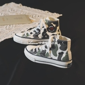 新款球鞋小白鞋高筒迷彩帆布鞋板鞋超火學生休閒女單鞋透氣鞋 艾美时尚衣橱