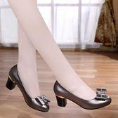 單鞋女真皮夏季新款百搭韓版中跟小皮鞋粗跟高跟女鞋 QQ3268『MG大尺碼』