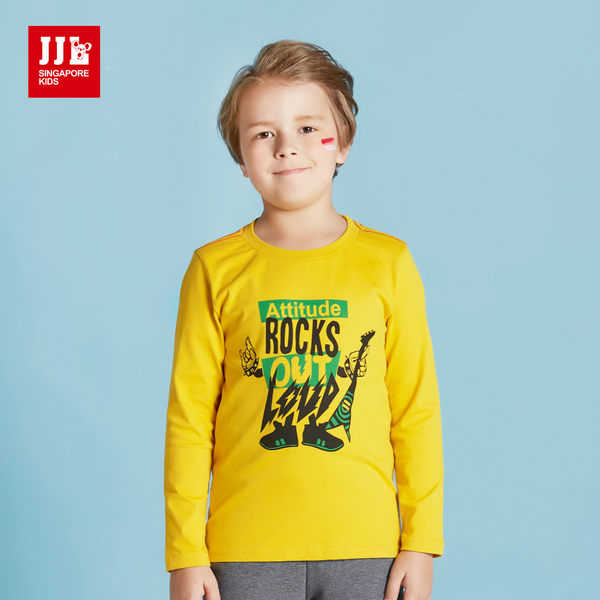 JJLKIDS 男童 搖滾音樂無限大純棉長袖T上衣 T恤(芥末黃)