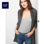 Gap女裝 柔軟舒適翻領無扣針織開襟衫 920451-炭灰色