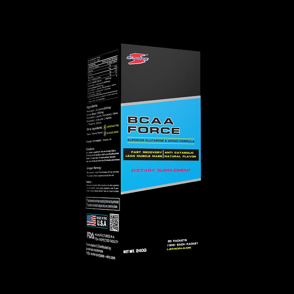 美國SURPASS BCAA FORCE 支鏈胺基酸240公克(檸檬口味)盒裝/20入 健身 補給 公司貨