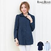 韓版--簡約自信獨特時尚韓國設計款兩穿鬆緊素面長版襯衫/外套(白.藍XL-5L)-I170眼圈熊中大尺碼
