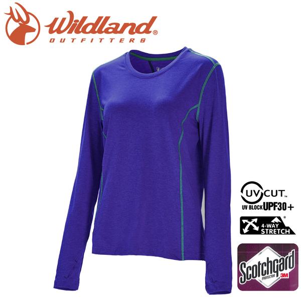 【Wildland 荒野 女 圓領雙色抗UV長袖上衣《紫羅蘭》】0A71655/運動衣/吸濕排汗/登山/防曬