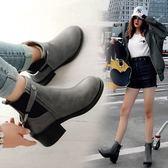 丁果、大尺碼女鞋34-43►學院風明星款扣帶環中跟馬丁靴短靴子*3色