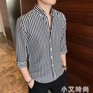 襯衫男七分袖短袖韓版潮流休閒帥氣條紋白襯衣夏季寬鬆長袖上衣港 小艾新品