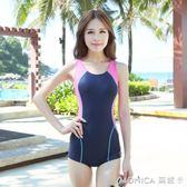 女士性感專業運動連體平角泳衣溫泉大碼保守遮肚顯瘦泳裝 莫妮卡小屋