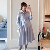 孕婦洋裝 秋裝洋裝2019辣媽中長款潮媽襯衫裙子長袖職業裝襯衣懷孕裙 M-2XL 雙12提前購