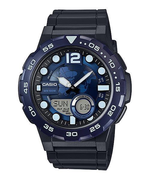 【CASIO宏崑時計】CASIO卡西歐運動雙顯電子錶 AEQ-100W-2A 100米防水 52.5mm 台灣卡西歐保固一年